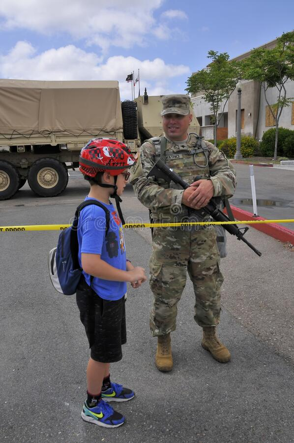 National Guard patrolling streets in La Mesa after riots royalty free stock photography