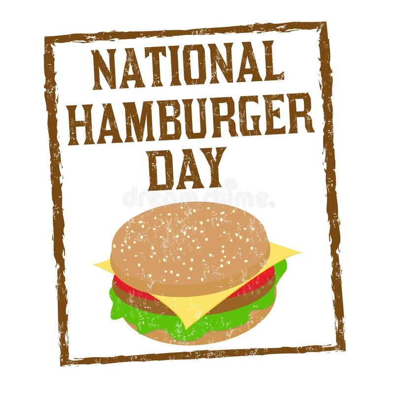 National hamburger day sign or stamp stock illustration