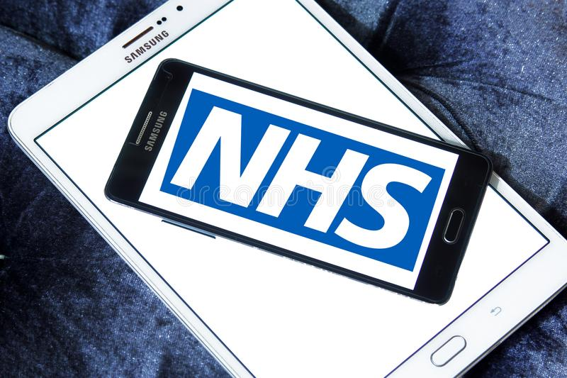 National Health Service , NHS , logo. Logo of National Health Service , NHS , on samsung mobile. The National Health Service NHS is the publicly funded national royalty free stock photography