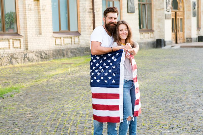 National holiday. Bearded hipster and girl celebrating. 4th of July. American tradition. American patriotic people royalty free stock photo