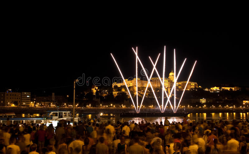 National holiday in Budapest. Fireworks over Buda Castle on national holiday royalty free stock photo