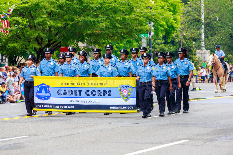 National Independence Day Parade 2015. Washinton, D.C., USA - July 4, 2015: Metro Police Department Cadet Corps in the annual National Independence Day Parade stock image