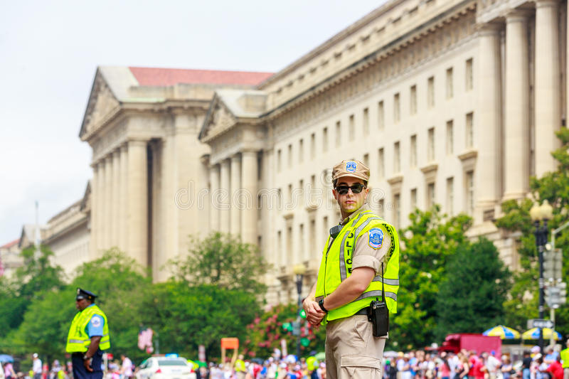 National Independence Day Parade 2015. Washinton, D.C., USA - July 4, 2015: Metro Police on duty in the annual National Independence Day Parade 2015 royalty free stock image