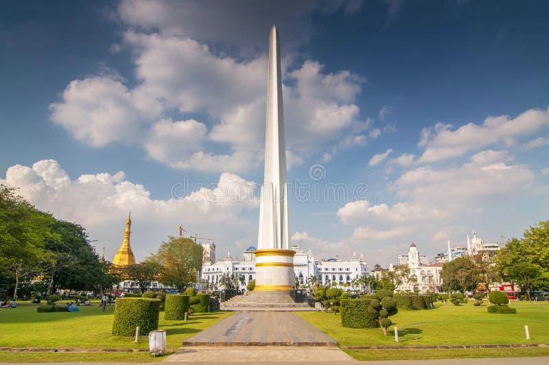 National Independence Monument in Maha Bandula Park, also Maha Bandula Garden, in downtown Yangon, Rangoon, Burma, Myanmar, Asia.  royalty free stock photo