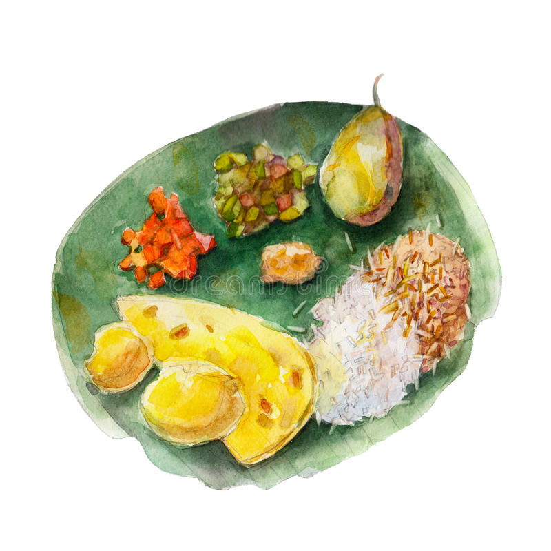 The national indian bengali food on leaf of a banana tree, watercolor illustration. The national indian bengali food on leaf of a banana tree, watercolor stock illustration