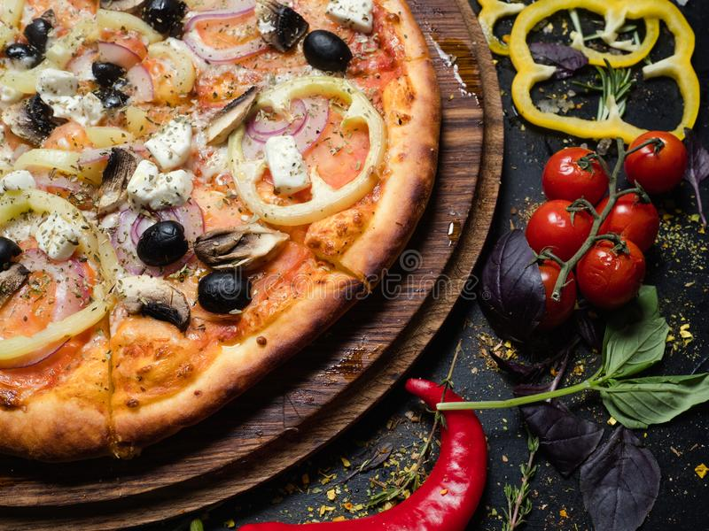 Italian meal homemade pizza food olives pepper stock images