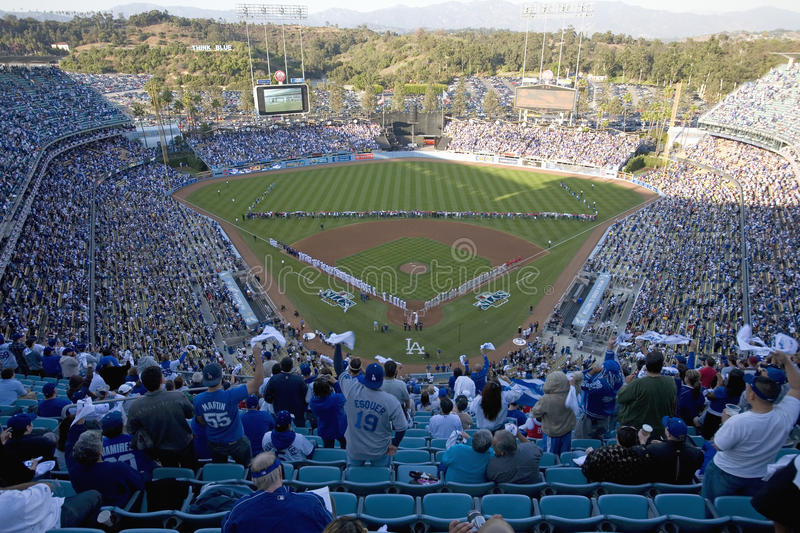 National League Championship Series. Opening ceremony of National League Championship Series (NLCS), Dodger Stadium, Los Angeles, CA on October 12, 2008 stock image