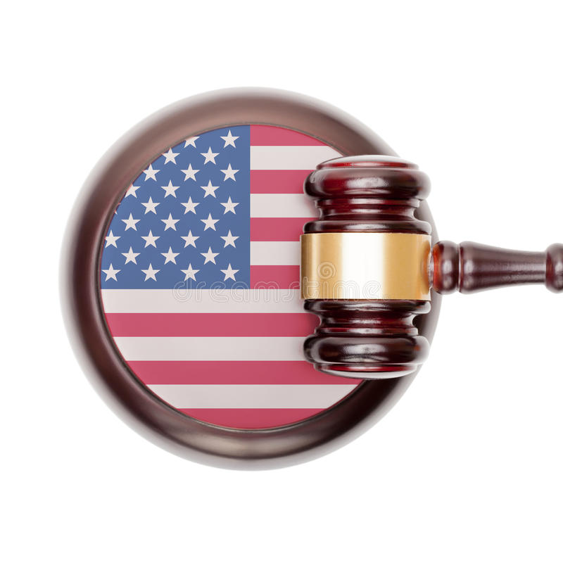 National legal system conceptual series - United States. National legal system concept with flag on sound block - United States stock photos
