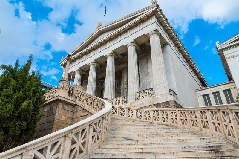 National library in the center of Athens Greece. One of the Trilogy of neoclassical buildings including the Academy of Athens and the original building of the stock photo