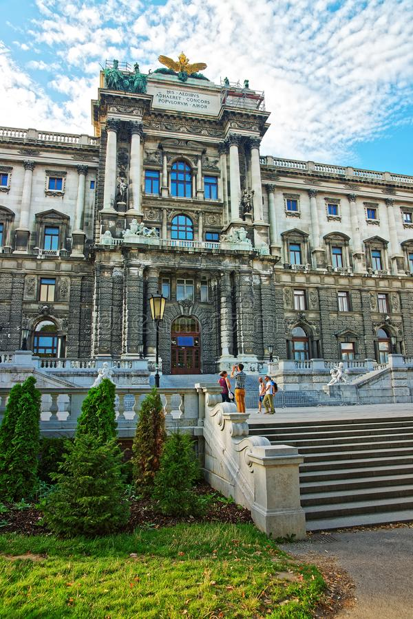 National Library of Hofburg Palace in Vienna and tourists royalty free stock photography