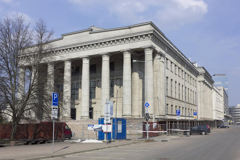 National library reconctruction. VILNIUS, LITHUANIA - MARCH 27, 2016: Reconstruction and restoration of the historical building of national Lithuanian library is royalty free stock photos