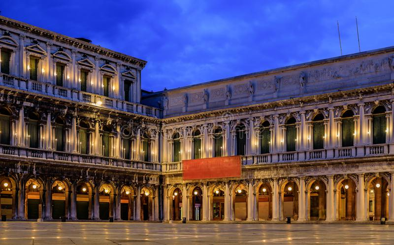 The picturesque National Library of St Mark`s and Museo Correr o. National Library of St Mark`s or Biblioteca Nazionale Marciana and Museo Correr on Piazza San royalty free stock image