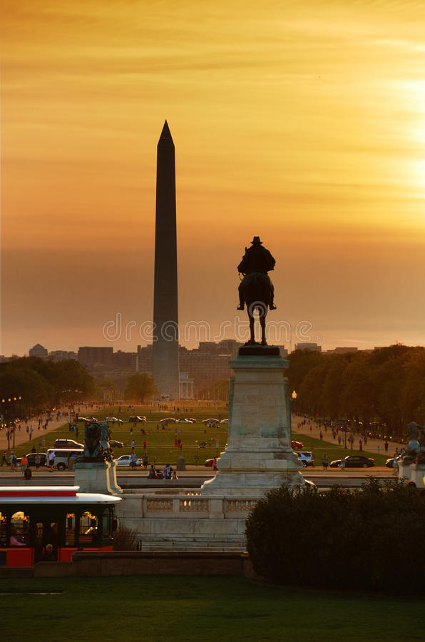 National mall sunset, Washington DC stock images