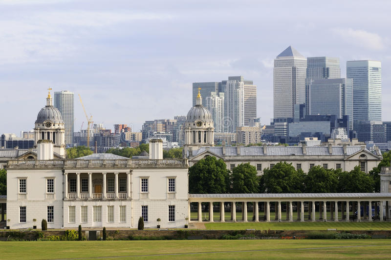 National maritime museum. Exterior of national maritime museum against blue sky and modern buildings, greenwich uk europe stock photo