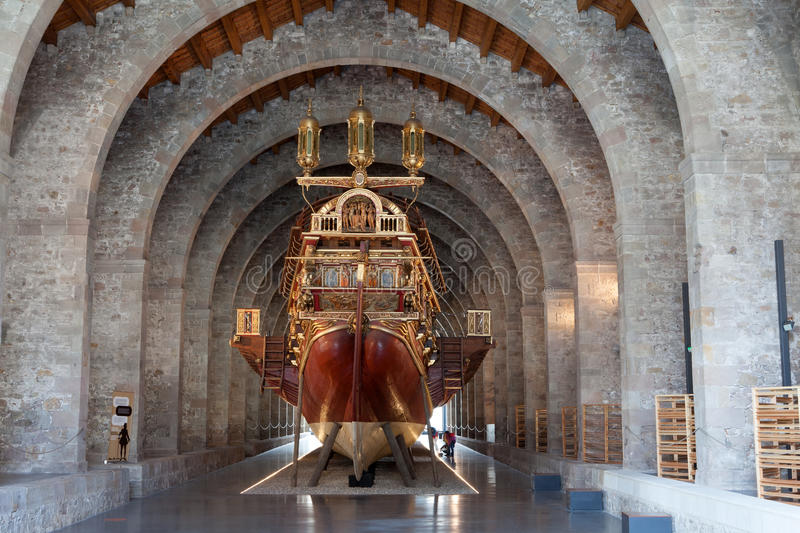 Naval Maritime Museum, Barcelona. A reproduction 16th Century galley in the Naval Maritime Museum, Barcelona royalty free stock photos