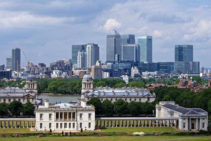 National maritime museum and Canary Wharf in London. royalty free stock photography