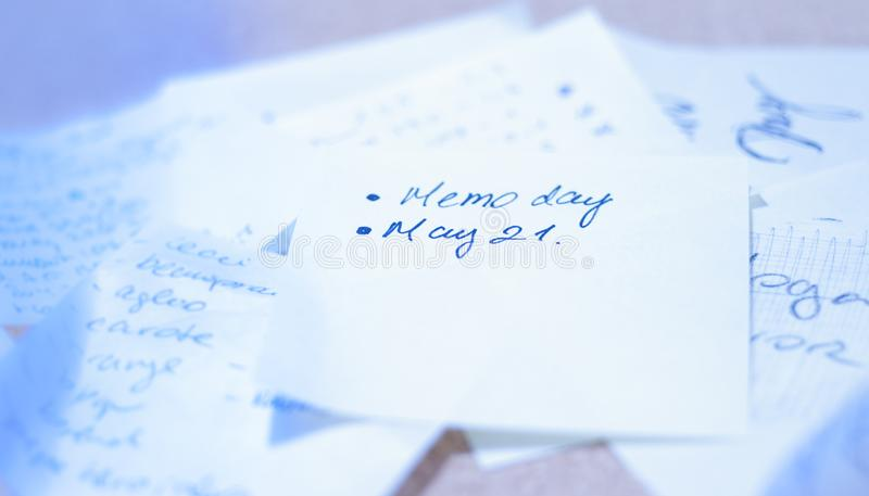 Memo day. National Memo day observed each year May 21 stock photography