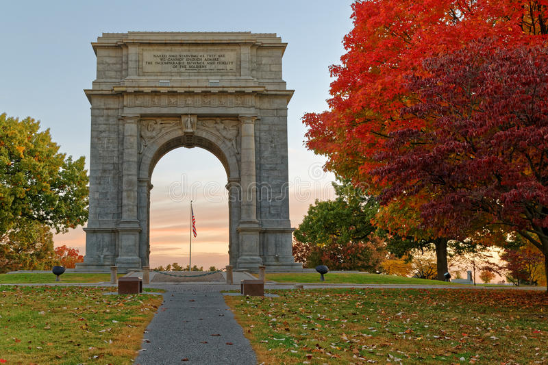 National Memorial Arch at Valley Forge. A beautiful autumn sunrise at Valley Forge. The National Memorial Arch is a monument dedicated to George Washington and royalty free stock photo