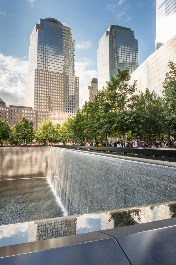 The National 9/11 Meorial at WTC Ground Zero site. New York, USA - SEP 3, 2016. The National September 11 9/11 Memorial at the World Trade Center Ground Zero royalty free stock photography