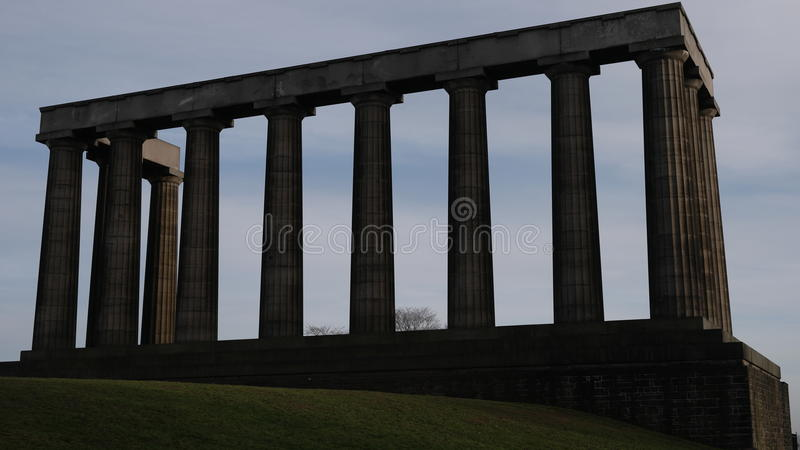 National Monument in Calton Hill over blue sky, Edinburgh, Scotland royalty free stock images
