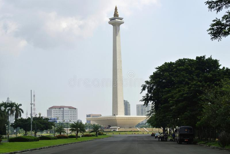 Famous National monument in the centre of Merdeka Square at Jakarta, Indonesia stock image