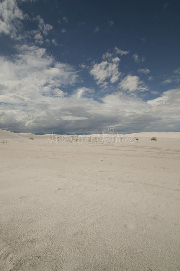 White Sands, National Monument, New Mexico, USA. National Monument, White Sands is in New Mexico, USA. It is no sand but Gypsum royalty free stock photo