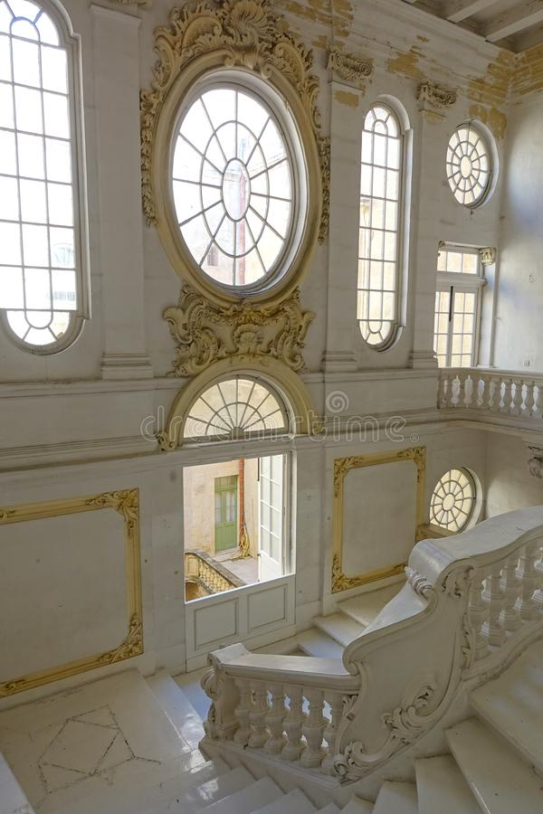 National Museum of Fine Arts Malta with Ornate Windows. Beautiful ornate windows in the historic National Museum of Fine Arts located in the capital city of royalty free stock photo