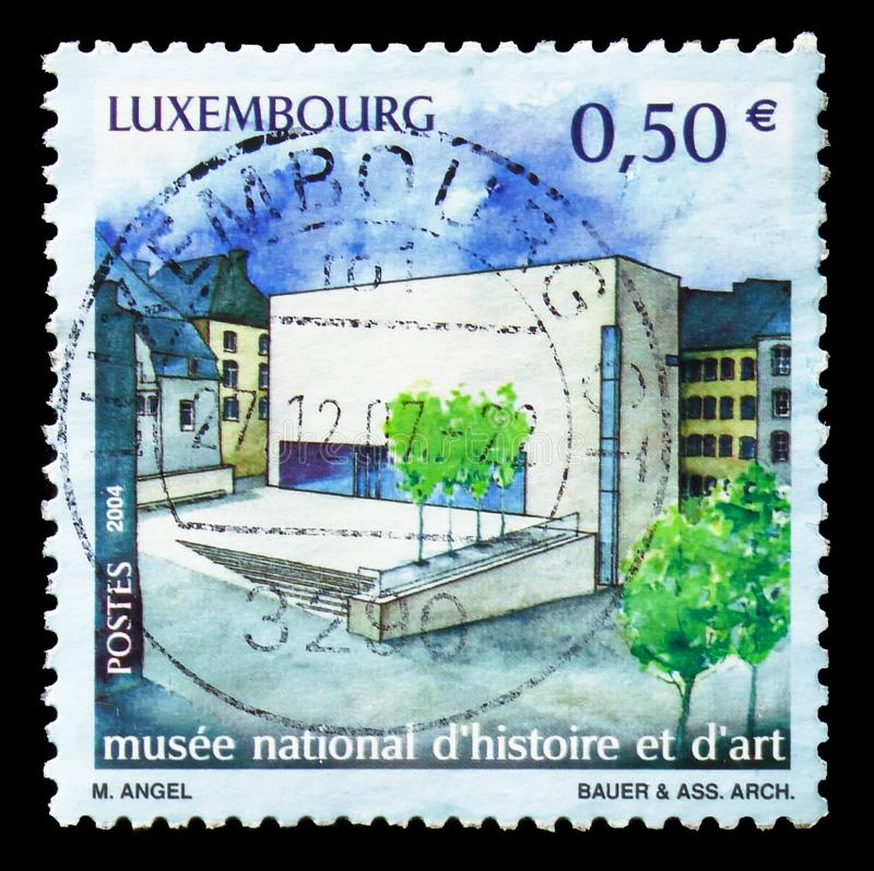 National Museum of History and Art, serie, circa 2004. MOSCOW, RUSSIA - AUGUST 18, 2018: A stamp printed in Luxembourg shows National Museum of History and Art stock images