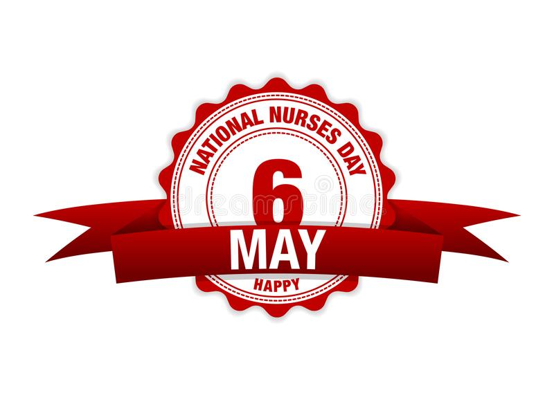National Nurses Day. 6 May ribbon calendar. vector red royalty free illustration