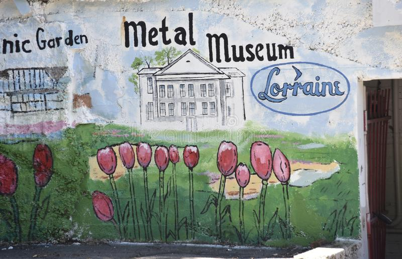 Metal Museum Wall Art and Freso, Memphis, TN stock photography