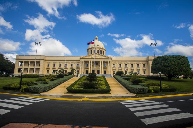 National Palace building in Santo Domingo, the Dominican Republic under the beautiful cloudy sky stock image