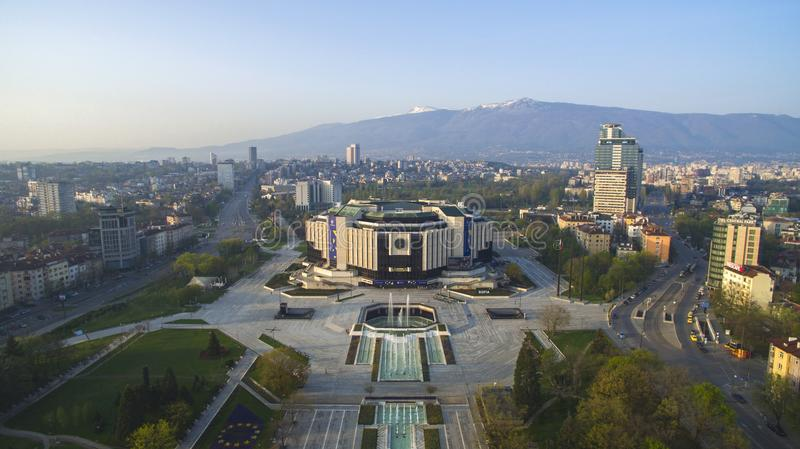 National Palace of Culture NDK. Aerial view of National Palace of Culture NDK, downtown Sofia, Bulgaria, at sunrise stock photo
