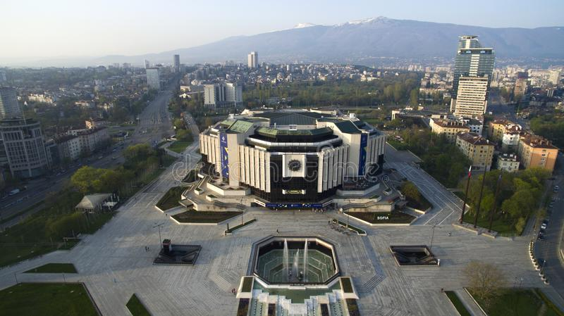 National Palace of Culture NDK. Aerial view of National Palace of Culture NDK, downtown Sofia, Bulgaria, at sunrise royalty free stock images
