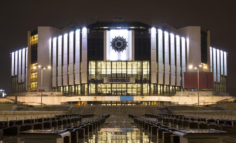 National Palace of Culture NDK. At night in Bulgaria`s capital Sofia. The building is the main event center for Bulgarian Presidency of the Council of the royalty free stock photography