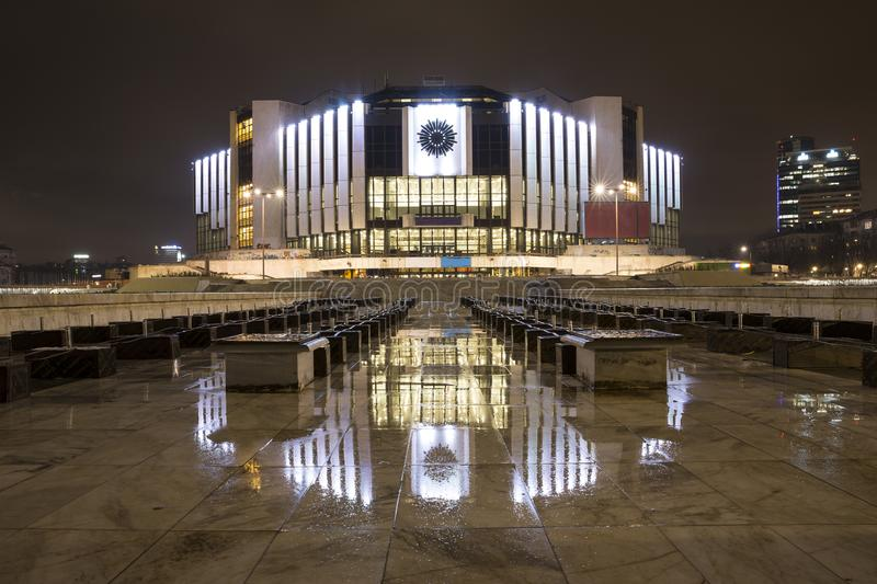 National Palace of Culture NDK. At night in Bulgaria`s capital Sofia. The building is the main event center for Bulgarian Presidency of the Council of the stock image