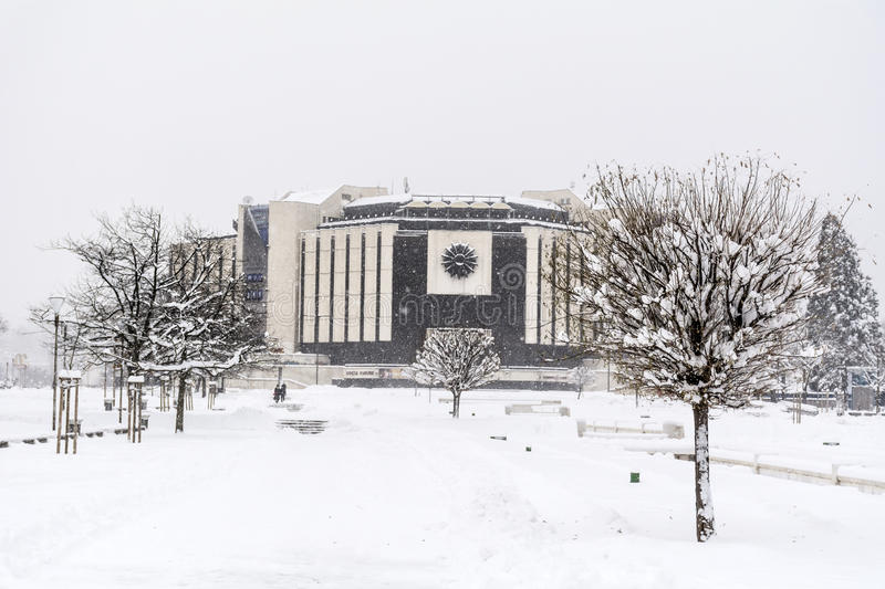 Download National Palace Of Culture In Sofia, Bulgaria Covered With Snow Stock Photo - Image: 83720105
