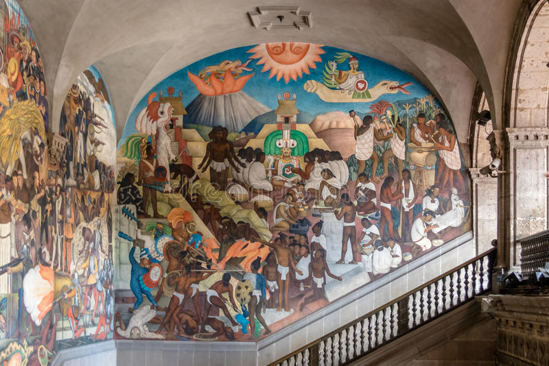 National palace and the famous mural the legend of for Mural quetzalcoatl