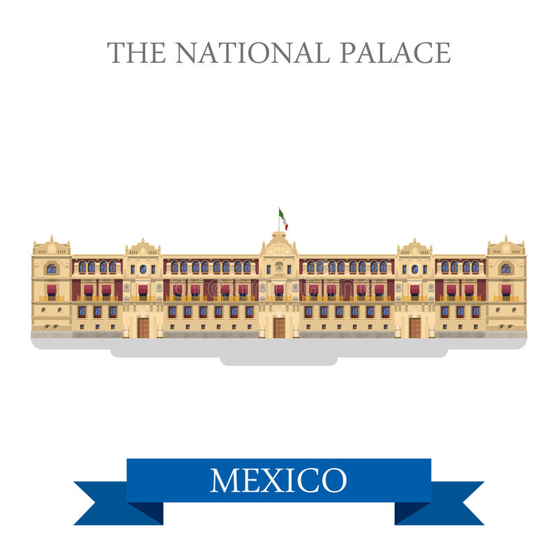 The National Palace Mexico vector flat attraction landmarks. The National Palace in Mexico. Flat cartoon style historic sight showplace attraction web site vector illustration