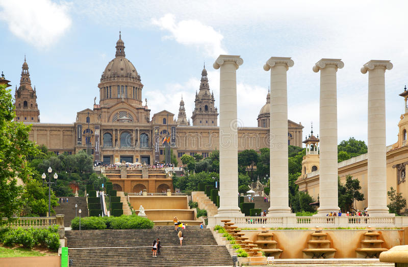 National Palace on Montjuic hill stock images