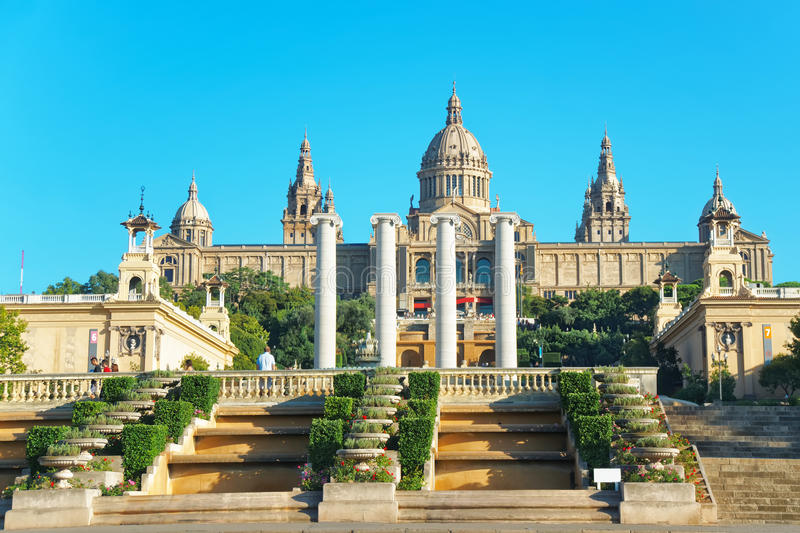 National Palace on Montjuic hill in Barcelona of Spain royalty free stock images