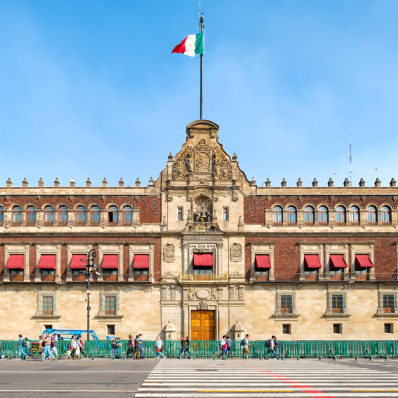 The National Palace next to the Zocalo in Mexico City. MEXICO CITY,MEXICO - DECEMBER 23,2016 : The National Palace next to the Zocalo in Mexico City stock photography