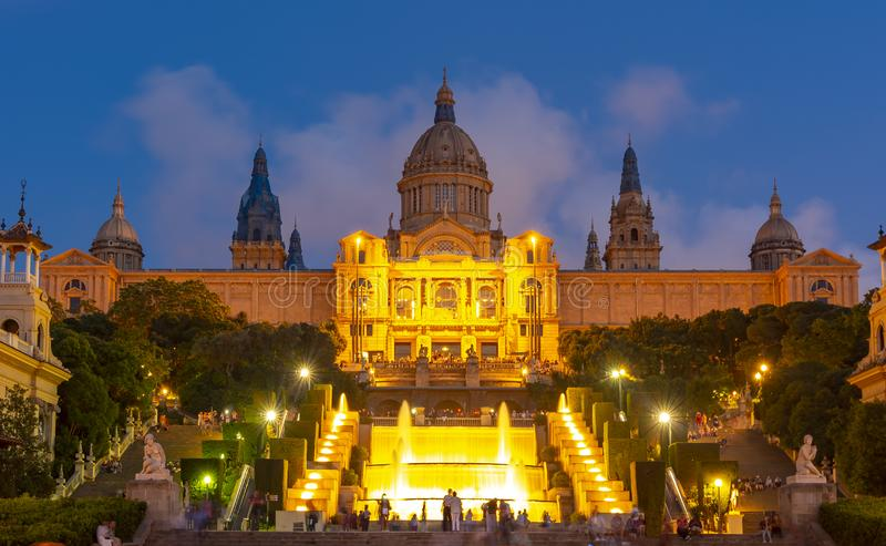 National Palace Palau Nacional and Magic fountain show on Montjuic hill, Barcelona, Spain royalty free stock images