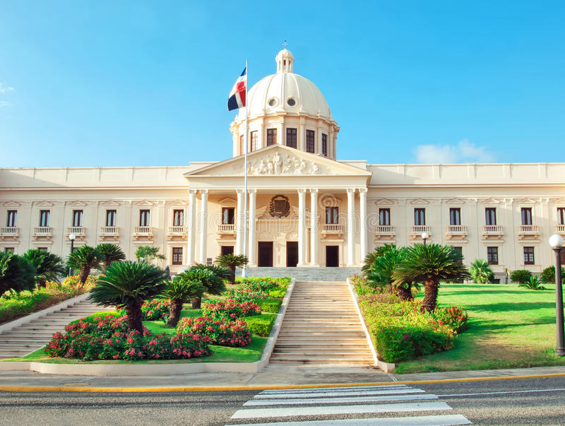 The National Palace in Santo Domingo houses the offices of the E. Xecutive Branch (Presidency and Vice-Presidency) of the Dominican Republic stock photography