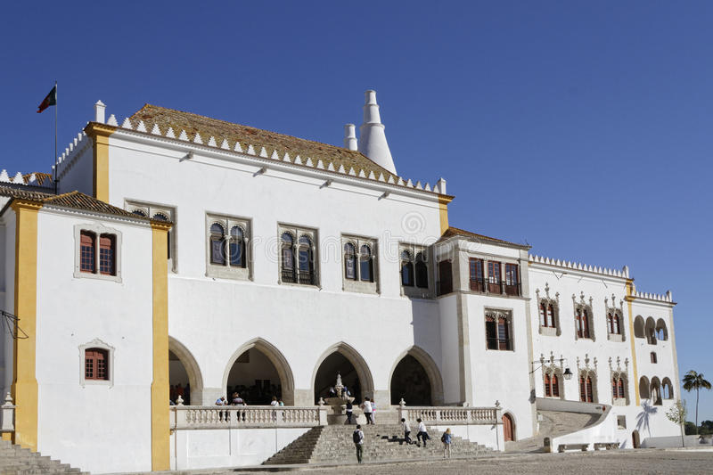 The National Palace of Sintra. SINTRA, Portugal, April 7, 2017 : The Palace of Sintra, for a long time the residence of Royal family during the summer. The city stock image