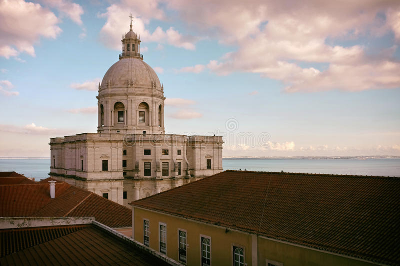 National Pantheon. Over rooftops of surrounding buildings in Lisbon, Portugal stock photography
