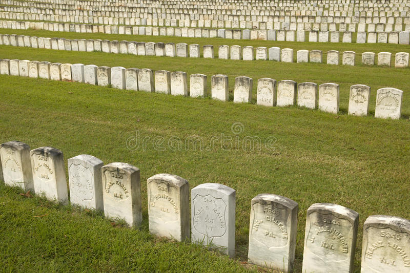 National Park Andersonville or Camp Sumter, a National Historic Site in Georgia, site of Confederate Civil War prison and cemetery. Tombstones for Yankee Union stock photo
