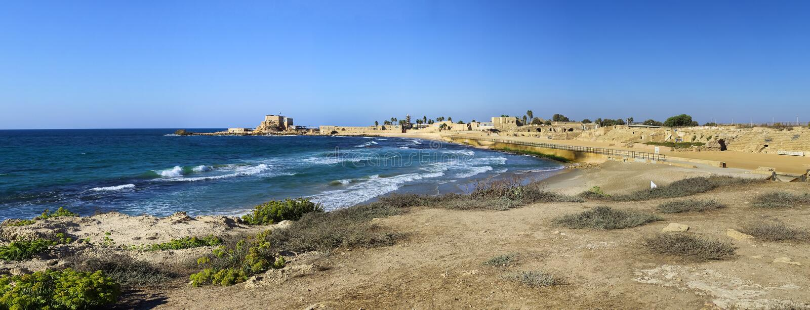 National park Caesarea on the coast of Mediterranean sea, Israel. Ancient Roman amphitheater. Panorama in high size royalty free stock images