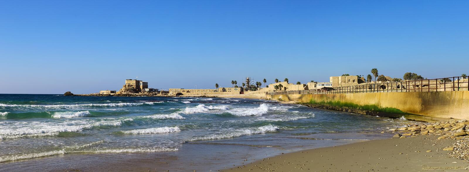 National park Caesarea on the coast of Mediterranean sea, Israel. Panoramic photo in high size stock image