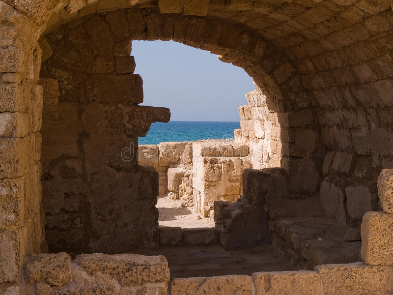 National park Caesarea Israel. National park old city of Caesarea Israel details of arches stock photos