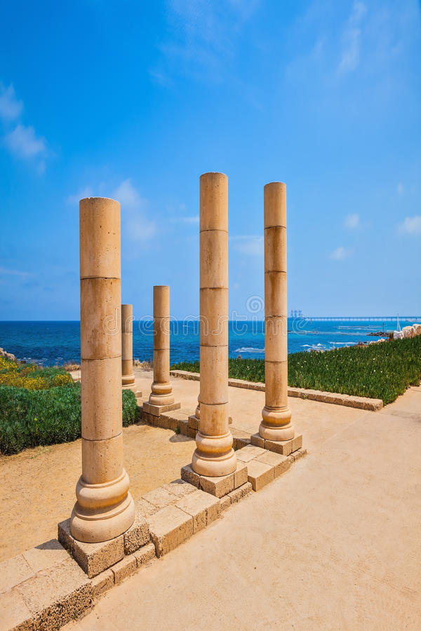 National Park Caesarea on Mediterranean coast. Israel. Ancient columns from the Roman period royalty free stock images